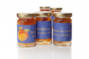 Spread the Love jam jars Custom peach jams for a Georgia wedding reception.
